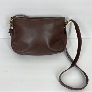 Coach Vtg Small Brown Leather Cross Body Bag Purse